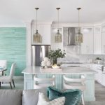 Nautical Kitchen L Shaped Kitchen Cabinets Unique Pendant Lights Tosca Kitchen Island Granite Countertops Blue Wall Accent
