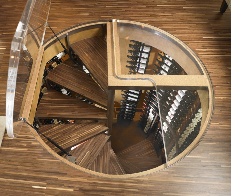 plexinglass wooden floor spiral staircase high wine racks