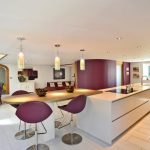 Purple Accent Walls Pendant Lights White Walls And Ceiling White Kitchen Island Purple Chairs Sink Recessed Lighting Purple Sofa