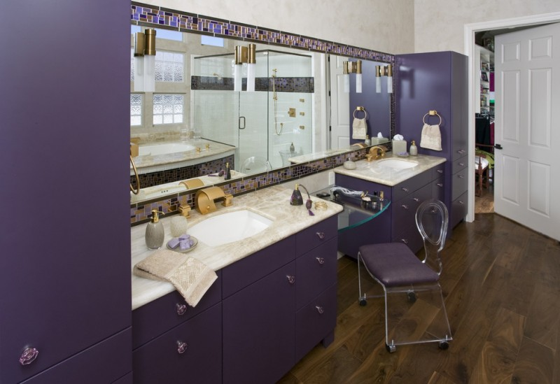 purple bathroom accessories purple parfum bottle ghost chair purple cabinet sink and vanity mirror tub wall sconces