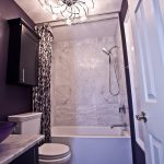 Purple Bathroom Accessories Purple Sink Bowl Ceiling Light Shower Curtain Purple Wall Tub Shower Faucet Black Cabinet Marble Countertop