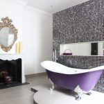 Purple Bathroom Accessories Purple Soap Place Purple Tub Mosaic Wall Tiles Antique Mirror Fireplace White Wall Candles