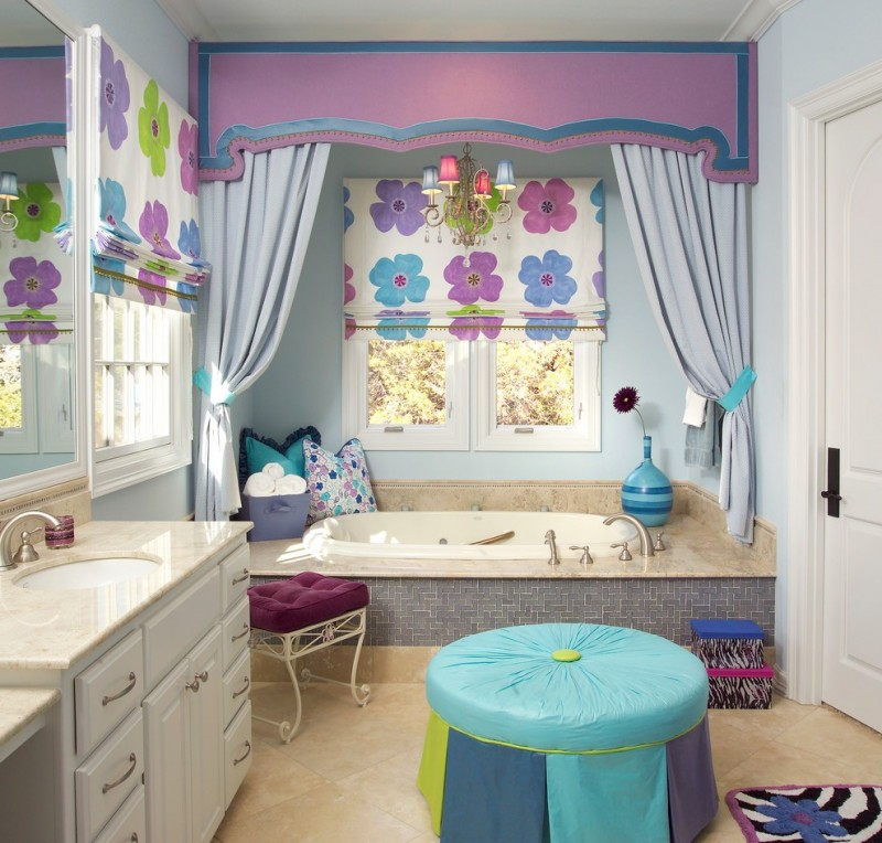 purple bathroom accessories purple valance tub colorful window treatments bathroom vanity with drawers and sink chandelier windows