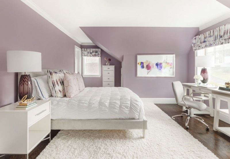 purple master bedroom purple wall white bedding white shag rug white furniture windows valance artwork table lamps