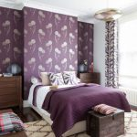 Purple Master Bedroom Purple Wallpaper Purple Bedding Ceiling Light Purple And White Curtains White Windows Dark Wood Drawers