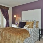 Purple Master Bedroom White Bed With White Headboard White Windows Bench Purple Curtain Satin Brown Bedding