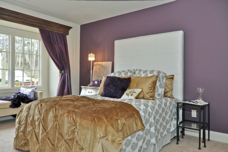 Purple Master Bedroom White Bed With Headboard Windows Bench Curtain Satin Brown Bedding