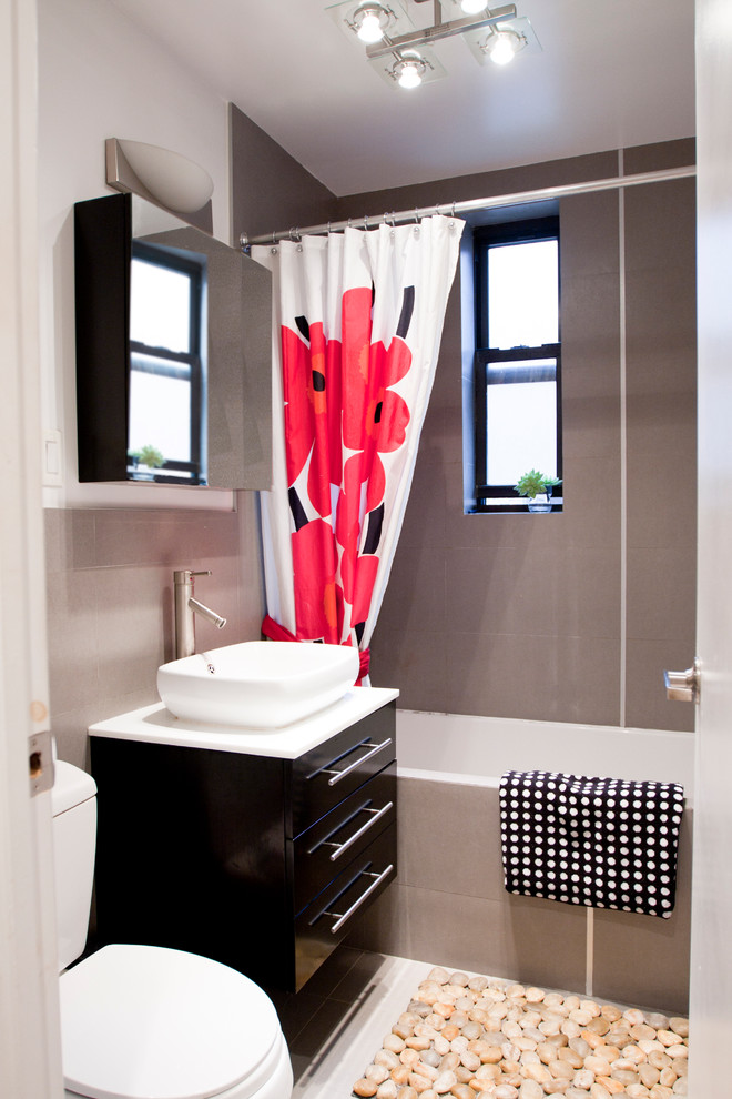 red bathroom accessories marimekko bright shower curtains ceiling light windows mirrored bathroom storage espresso vanity white sink