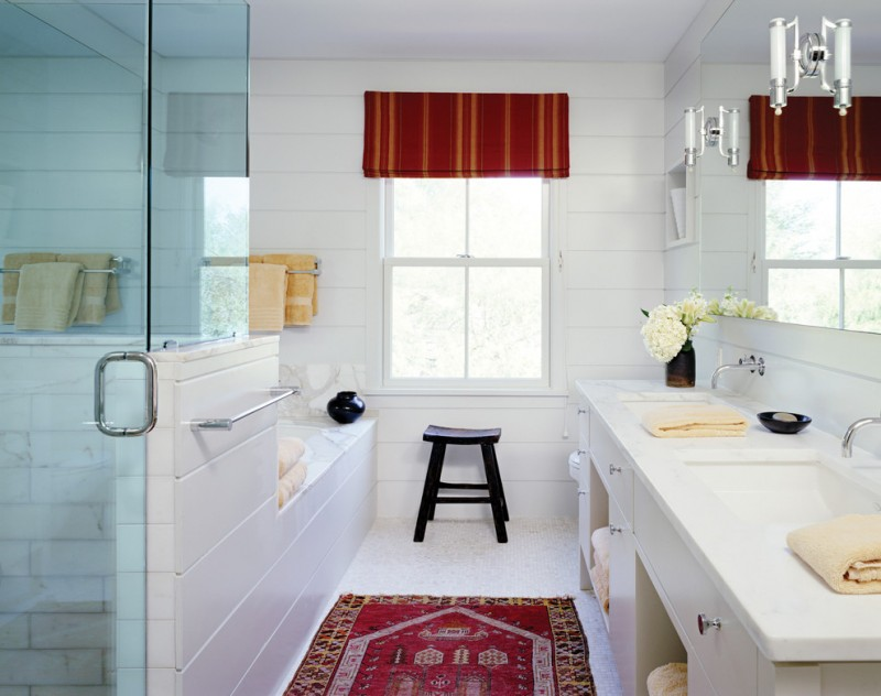 red bathroom accessories red window treatment red mediterranean rug glass doors white bathroom window mirror wall sconces
