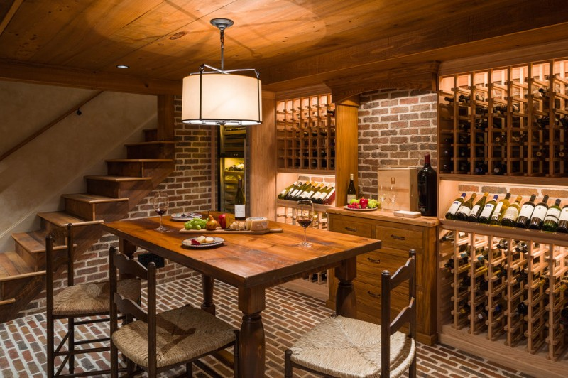 red brick high table chair brick wall brick floor wine rack wooden rack wooden cabinet ceiling lamp wooden ceiling staircase