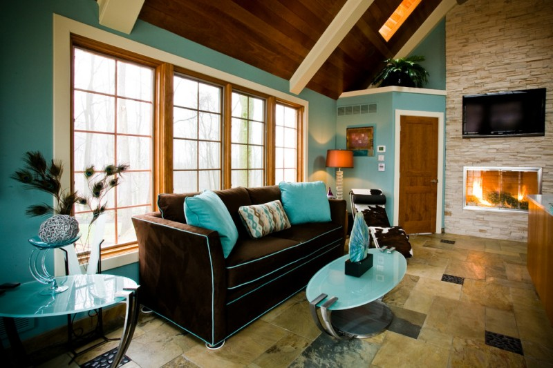 astounding teal brown living room ideas | Picturesque Teal and Brown Combination Ideas You Can Apply ...