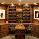 Wine Storage Flat Panel Cabinet Wooden Backsplash Wooden Countertop Wooden Table Wire Stool Wall Decoration Recessed Lights