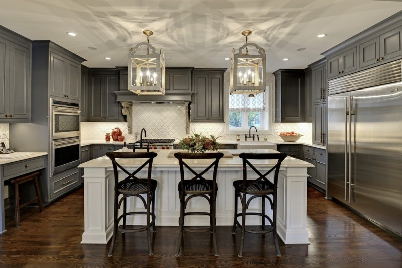 backsplash for dark cabinets arabesque tile classic chandeliers grey kitchen cabinets white island wood floor dark barstools