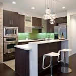 Backsplash For Dark Cabinets Green Backsplash Expresso Kitchen Cabinets Kitchen Island White Countertops Pendants Barstools
