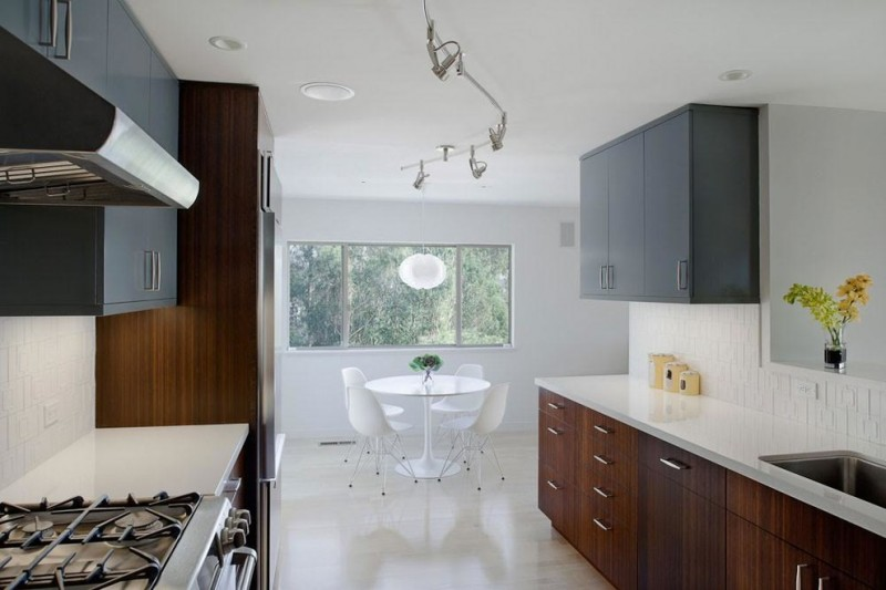 backsplash for dark cabinets grey upper cabinets wood under cabinets white backsplash undermount sink white pedestal table and chairs