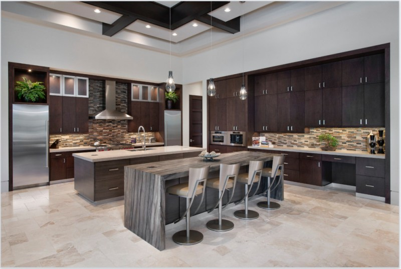 backsplash for dark cabinets horizontal tiles dark brown caibinets kitchen islands barstools pendant lights indoor plants