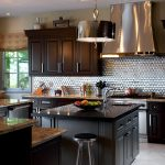 Backsplash For Dark Cabinets Metal Backplash Black Cabinets And Countertops Grey Island Barstool Chandelier Window