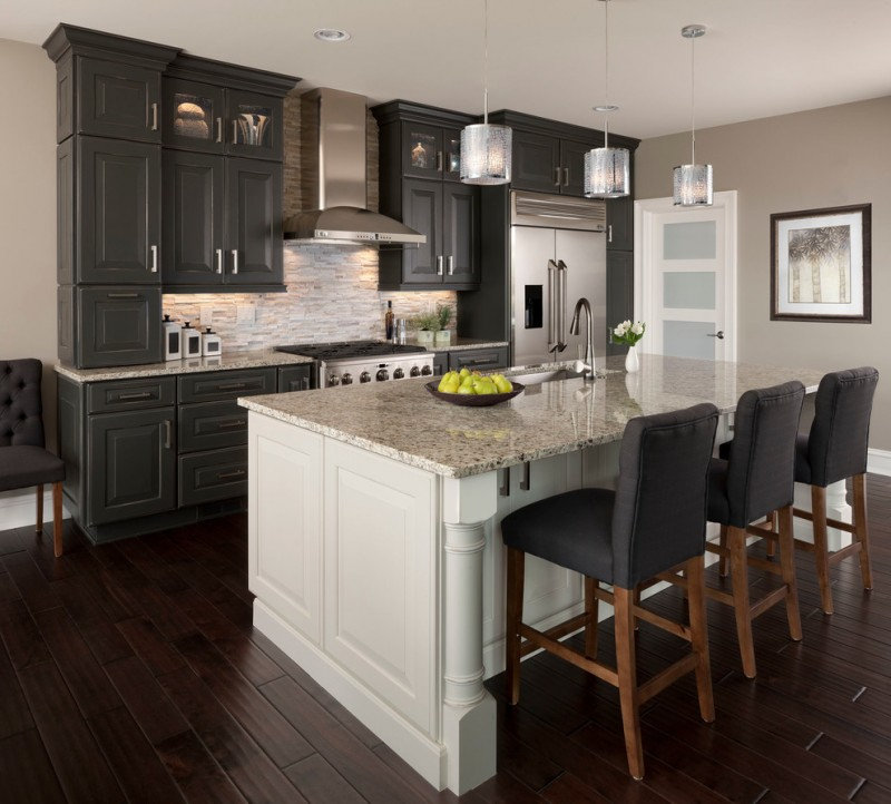 backsplash for dark cabinets pendant lights dark wood flooring black kitchen cabinets white kitchen island granite countertops