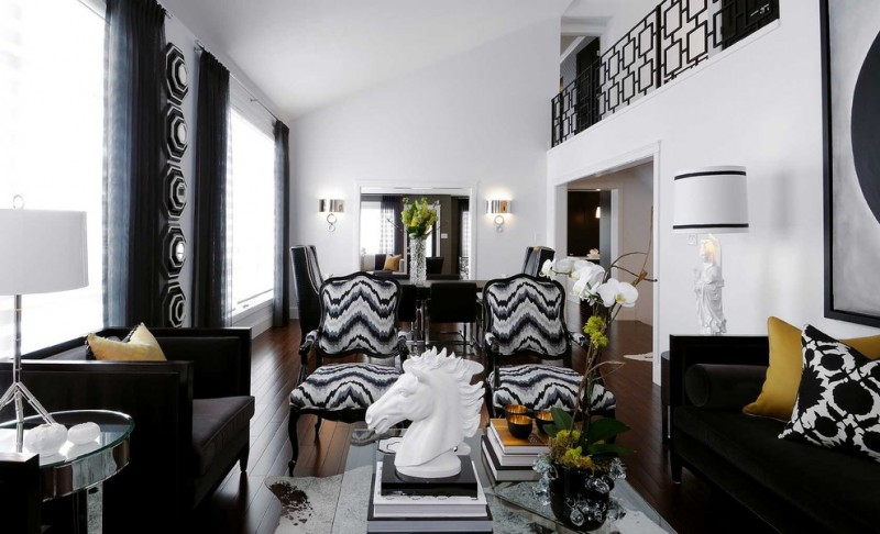 black and white living room furniture black and white traditional armchairs black sofa white table lamp white walls black curtains