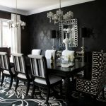 Black White Area Rug Chandeliers Black Dining Table Wingback Chairs White Chairs Console Table Lamps Black Wallpaper Mirror