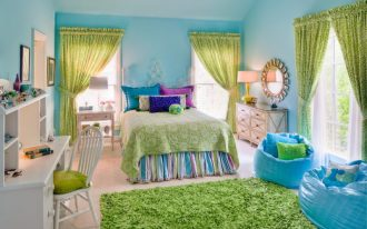 cute bean blue beans green shag rug blue walls green curtains white desk and chair colorful bedding windows nightstands mirror
