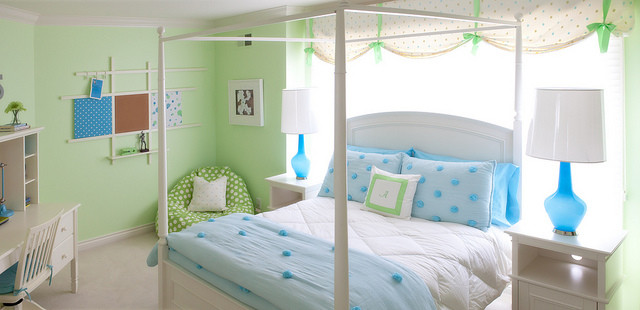 cute bean green bean and walls wide windows valance curtains bed nighstands white desk and chair wall decor