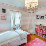 Cute Bean Patterned Bean Canopy Bed Chandelier Bookshelves Shaped Table Artwork Pink Rug Window White Curtains