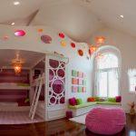 Cute Bean Pink Bean Wood Flooring Bunk Bed Circles Pink Rug Natural Capiz Shells Pendant Lighting Window With Curtains