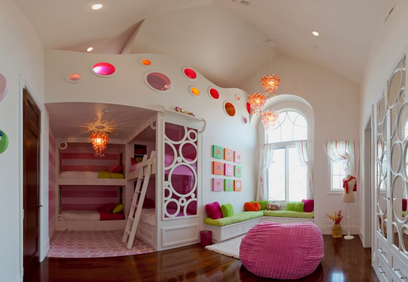 cute bean pink bean wood flooring bunk bed circles pink rug natural capiz shells pendant lighting window with curtains