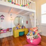 Cute Bean Wood Flooring Bunk Bed Stairs Window Big Round Mirror Pink Rug Yellow Desk Bookshelves Diamond Lighting
