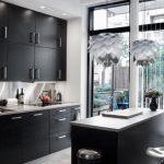 Flat Panel Cabinet Black Cabinet Island Granite Countertop Island Marble Floor Bar Stools Drop In Sink Pendant Lights Outdoor Space