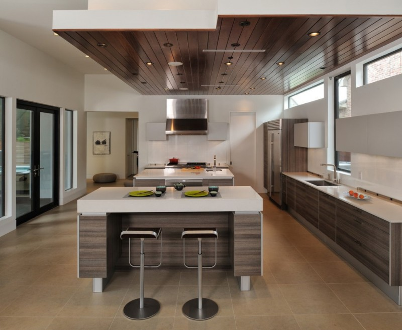 floating kitchen cabinets mahogany ceiling white barstools barstools light brown floor tile windows black framed glass doors