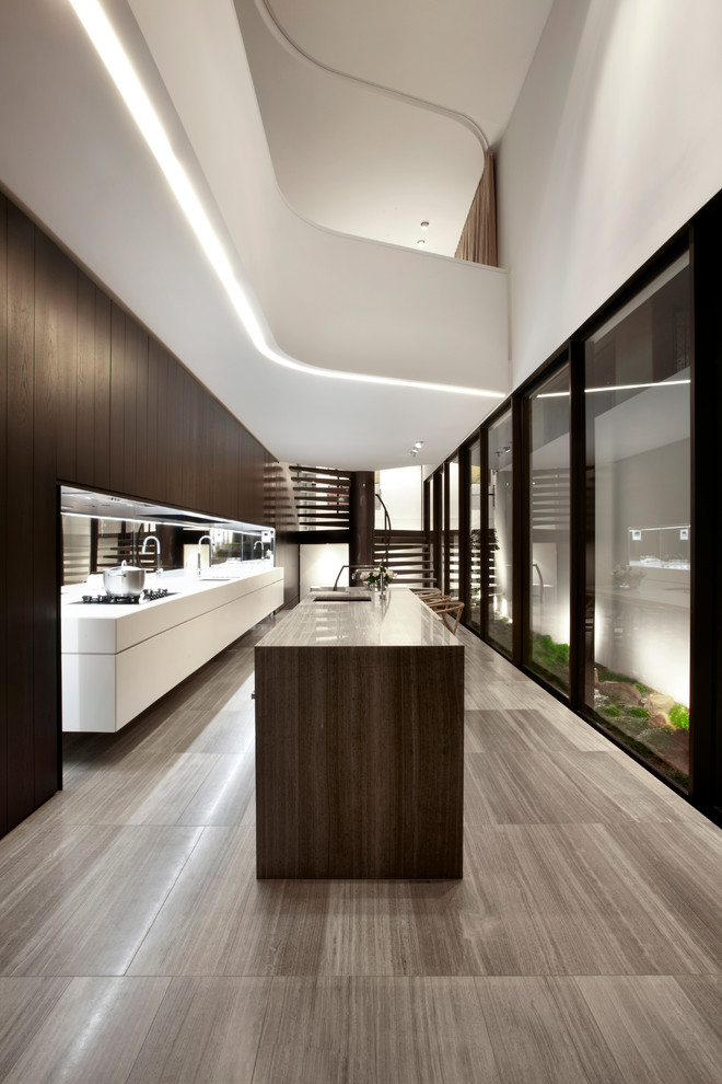 floating kitchen cabinets wood flooring glass windows from floor to ceiling white cabinet brown island recessed lighting sink