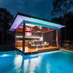 Gazebo Lighting Colored Lightings Waterfall Pool Modern Gazebo Wood Flooring Bench Chairs Coffee Table Entertainment Cabinet
