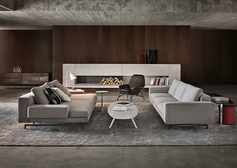 gray and brown living room gray walls ribbon fireplace grey sofa and couch white coffee table armchair grey rug table lamp