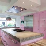 Pastel Kitchen Pink Cabinets Stainless Hardware Wood Flooring Modern Hood Wood Countertops Glass Windows Recessed Lighting