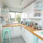 Pastel Kitchen Windows Curtains White Kitchen Cabinets Baby Blue And Pink Accents Undermount Sink Ceiling Pendants