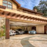 Pergola Glass Door Beam Balcony Stone Wall 4 Car Garage Driveway
