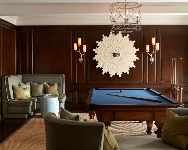 pool table corner sofa gray sofa rug area chandelier pendant lights wall decoration wood panel wall