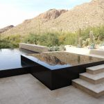 Raised Pool Raised Spa Black Granite Beige Granite Paver Tiled Floor Pool Concrete Bench Hill Cactus