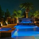 Rectangular Pool Rectangular Hot Tub Raised Spa Concrete Paving Palm In Pool Lighting