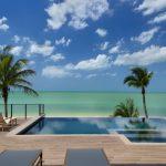 Rectangular Pool Rectangular Spa Hot Tub Stone Line Tiled Deck Pool Seating Palms Beach