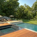 Rectangular Pool Rectangulat Hot Tub Spa Wood Deck Mosaice Tiled Edge Pool Benches Outdoor Space Rocks