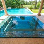 Rectangular Pool Spa Hot Tub Mosaic Tiled Line Granite Floor Patio Pool Seating Backyard