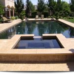 Rectangular Poool Raised Hot Tub Spa Concrete Paver Pool Bench Garden Arched Wall