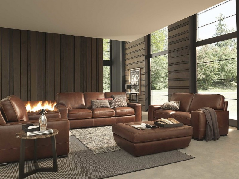 tan leather sofa patterned pillow fireplace brown wall ottoman rug area round table wall decoration