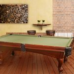 Yellow Wall Brick Wall Pool Table Green Felt Wood Floor Stools Wall Mounted Table Wall Decoration Porcelen Jar