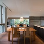 Asian Dining Table Small Wooden Dining Table And Chairs Unique Ceiling Pendant Light Black Kitchen Island White Countertop Wood Floor