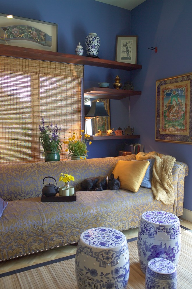chinese home decorations blue chinese stools traditional area rug wall decorations rattan window shade velvet sofa wall mounted shelves