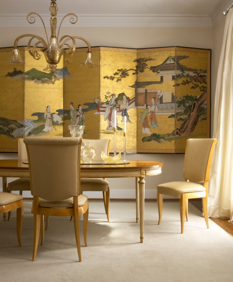 chinese home decorations golden folded screen gold chandelier dining table and chairs beige walls transparent window curtains